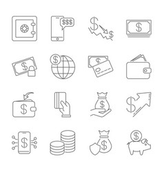 simple icon set related to money a set sixteen vector image