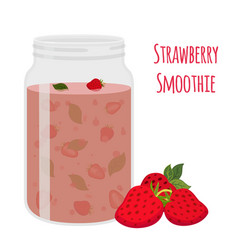 strawberry smoothie vegetarian organic detox drink vector image