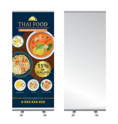 Thai food roll up banner stand design vector