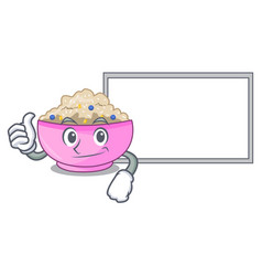 Thumbs up with board character a bowl of oatmeal vector