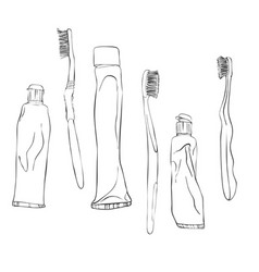 toothbrushes and toothpastes vector image