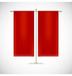 Two red flag on stand vector image