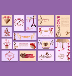 Valentines day card love design heart card vector