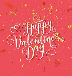 valentines day love oblique lettering with golden vector image