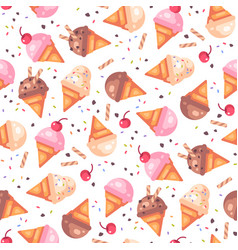 various ice cream cones seamless pattern vector image