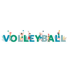 Volleyball banner with cartoon athlete women vector