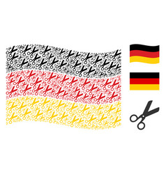 waving germany flag pattern of scissors icons vector image