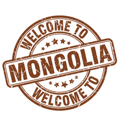 welcome to mongolia brown round vintage stamp vector image