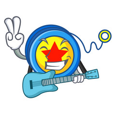 with guitar yoyo mascot cartoon style vector image
