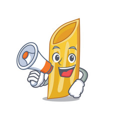 With megaphone penne pasta character cartoon vector