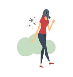 Young woman in respirator cartoon vector