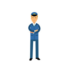 airline pilot in blue uniform standing with folded vector image