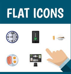 flat icon oneday set of fried egg cellphone vector image