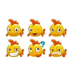 Funny cartoon yellow fish with different emotions vector image