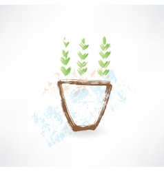 potted plant grunge icon vector image