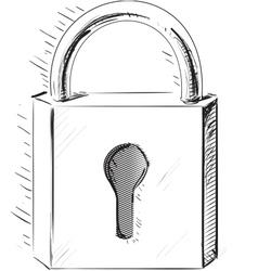 Sketch lock icon vector image