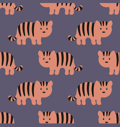 stylized tiger cartoon style background vector image