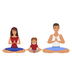 young white family yoga lotus vector image vector image