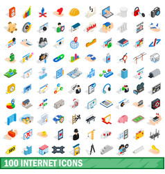 100 internet icons set isometric 3d style vector image