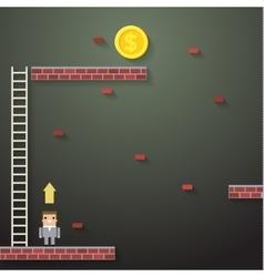 Businessmen climbing the ladder on dark vector image vector image