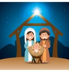 Holy family merry christmas manger vector