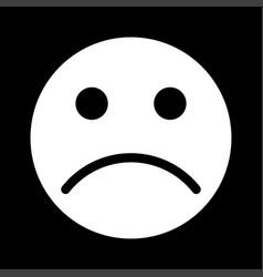 Sad emoticon white color icon vector
