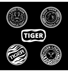 Set of logos with tigers striped icons and lagels vector