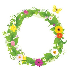 Wreath From Flowers And Leaves vector image vector image
