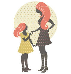 Beautiful mother silhouette with her daughter vector image vector image