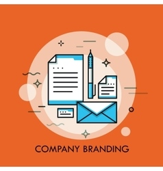 Corporate style branding design thin line vector image