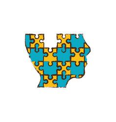 head puzzle pieces image vector image