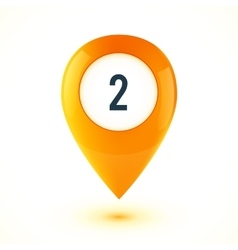 Orange realistic 3D glossy map point symbol vector image vector image