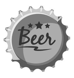 Beer bottle cap icon gray monochrome style vector image