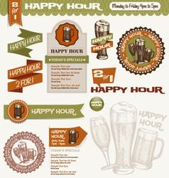 beer happy hour design elements vector image