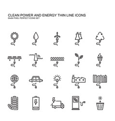 clean power and green energy thin line icons set vector image vector image