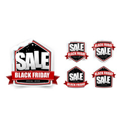 collection of vintage black friday sale tag label vector image vector image