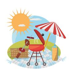 picnic grill umbrella basket food sunny vector image vector image