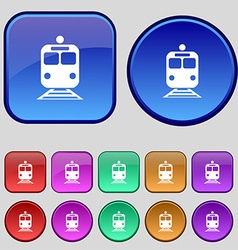 train icon sign A set of twelve vintage buttons vector image
