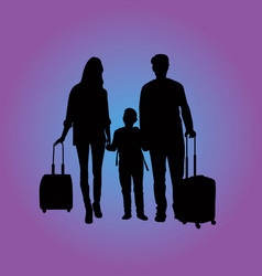 traveling family at the airport vector image vector image