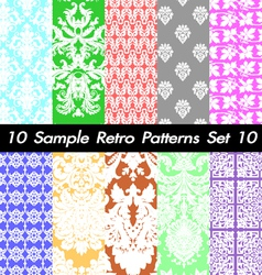 10 Retro Patterns Textures Set 10 vector