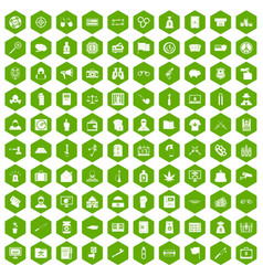100 criminal offence icons hexagon green vector