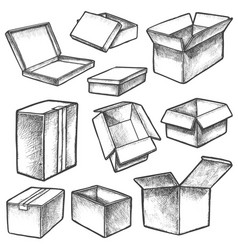 3d cube boxes or realistic cargo containers sketch vector image