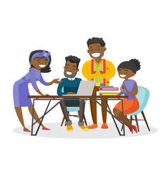 African-american business people working together vector