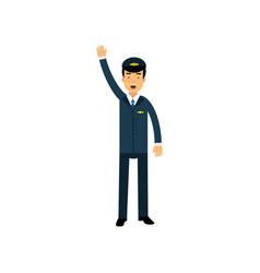 Airline pilot in blue uniform standing standing vector