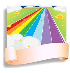 An empty template in front of the colorful road vector image