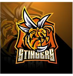 Angry bee esport mascot logo design vector