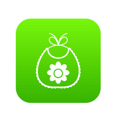 baby bib icon digital green vector image