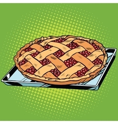 Berry pie on iron pallet vector