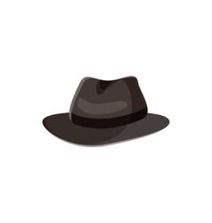 Black hat icon in cartoon style vector