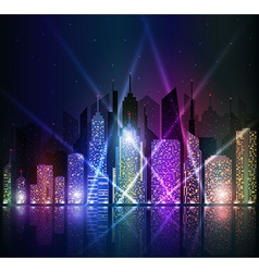 Bright night cityscape vector